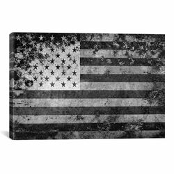 Flags U.S.A. Grunge Graphic Art on Canvas in Black/White