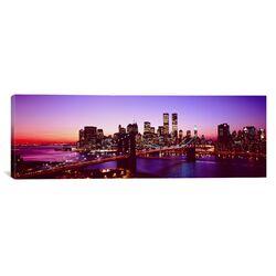 Panoramic New York City, Brooklyn Bridge, Twilight Photographic Print on Canvas