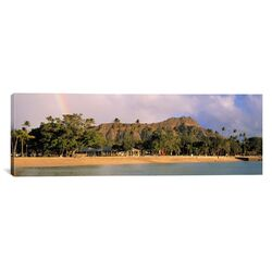 Panoramic Hawaii, Oahu, Honolulu, Diamond Head St. Park, View of a Rainbow over a Beach ...