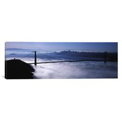 Panoramic California, San Francisco, Fog over Golden Gate Bridge Photographic Print on Canvas