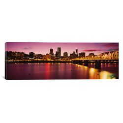 Panoramic Skyscrapers Lit up at Sunset, Willamette River, Portland, Oregon Photographic Print ...