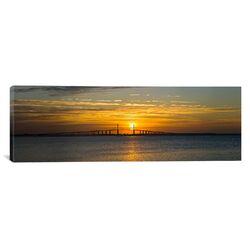 Panoramic Sunrise over Sunshine Skyway Bridge, Tampa Bay, Florida Photographic Print on Canvas