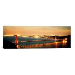 Panoramic Suspension Bridge Lit up at Dusk, Golden Gate Bridge, San Francisco Bay, San ...