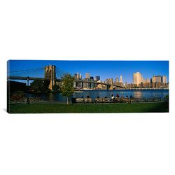 Panoramic Brooklyn Bridge Park, Brooklyn Bridge, East River, Manhattan, New York City, New York ...