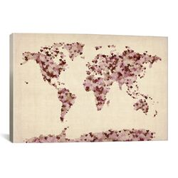 'Vintage Hearts World Map' by Michael Tompsett Graphic Art on Canvas