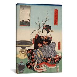 Woman with Tree Branch Japanese Woodblock Painting Print on Canvas
