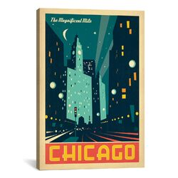 'The Magnificent Mile - Chicago, Illinois' by Anderson Design Group Vintage Advertisment on Canvas