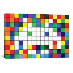Space Invaders Rainbow Cube Art Graphic Art on Canvas