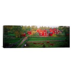 Panoramic Traditional Red Farm Houses and Barns at Village, Stensjoby, Smaland, Sweden ...