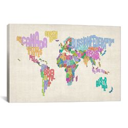 'Typographic Text World Map' by Michael Thompsett Graphic Art on Canvas