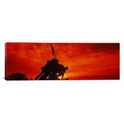 Panoramic Silhouette of Statues at a War Memorial, Iwo Jima Memorial, Arlington National ...