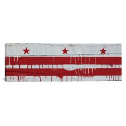 Washington, D.C Flag, Wood Planks with Paint Drip Panoramic Graphic Art on Canvas