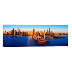Panoramic Sunrise at Navy Pier, Lake Michigan, Chicago, Illinois Photographic Print on Canvas