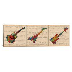 Music Instrument Panoramic Graphic Art on Canvas
