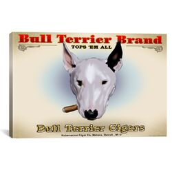 Brian Rubenacker Bull Terrier Cigar Canvas Print Wall Art