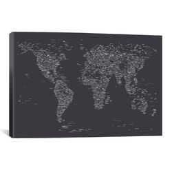 Font World Map by Michael Tompsett Graphic Art on Canvas in Dark Gray