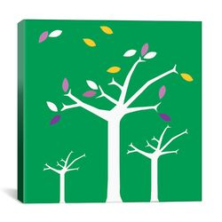 Autumn Trees Graphic Art on Canvas in Green