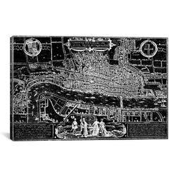 Antique Map of London (1572) by Georg Braun Graphic Art on Canvas in Black
