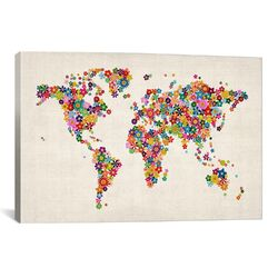 'Flowers World Map' by Michael Tompsett Graphic Art on Canvas