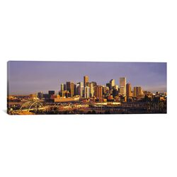 Panoramic Denver Skyline Cityscape Photographic Print on Canvas in Sunset