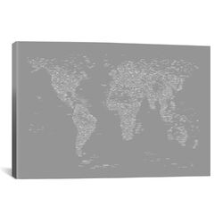 Font World Map by Michael Tompsett Graphic Art on Canvas in Gray