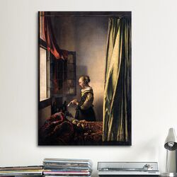 'Girl Reading a Letter at an Open Window' by Johannes Vermeer Painting Print on Canvas ...