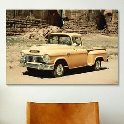 Cars and Motorcycles Gmc 100 Series 1-2-ton Pickup 1957 Photographic Print on Canvas