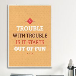 American Flat Fun Trouble Textual Art on Canvas