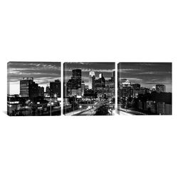 Panoramic Photography Minneapolis Skyline Cityscape Evening 3 Piece on Canvas Set in Black and ...