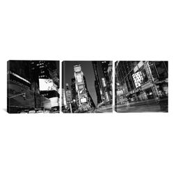 Panoramic Photography New York Skyline Cityscape Times Square at Night 3 Piece on Canvas Set ...