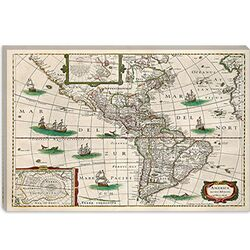 Map of the Americas (Hondius, Henricus 1631) Cancas Wall Art