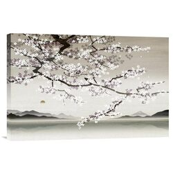 'Flower Blossom in Asian Landscape' by Nick Purser Painting Print on Canvas