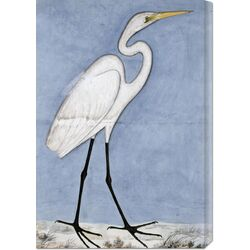 'Great Egret' by Lucknow School Painting Print on Canvas