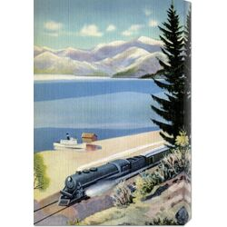 'Steaming Along the Coast' by Retro Travel Painting Print on Canvas