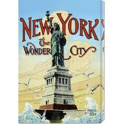 'New York; The Wonder City' by Retro Travel Vintage Advertisement on Canvas