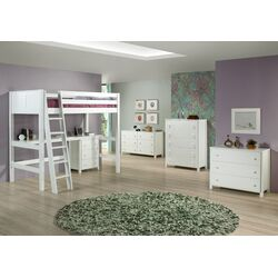 High Loft Bed with Desk and Panel Headboard