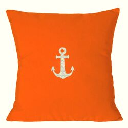 Anchor Embroidered Sunbrella Fabric Indoor/Outdoor Pillow