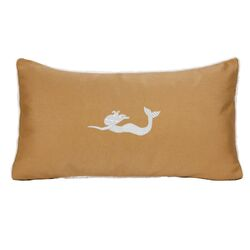 Sunbrella Beach Pillow with Embroidered Mermaid and Terry Cloth backs