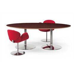 Artifort-Oval Conference Table with Veneer Top by Pierre Paulin - Triple Pedestal