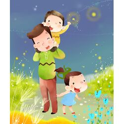 Mommy and Kids Graphic Art on Canvas