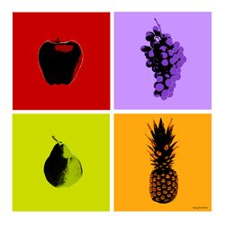 'Fruits' 4 Piece Graphic Art on Wrapped Canvas Set