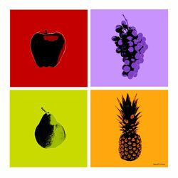 4-Piece Fruits Graphic Art on Canvas