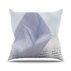 At Sea by Ingrid Beddoes Paper Boat Throw Pillow