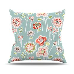 Folky Floral by Gill Eggleston Throw Pillow