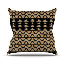 Deco Angles Gold Black Throw Pillow
