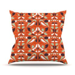 Orange Swirl Kiss Throw Pillow
