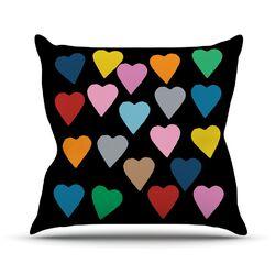 Hearts Colour On Black Throw Pillow