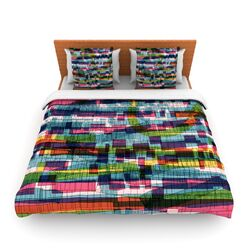 Squares Traffic Pastel by Frederic Levy-Hadida Fleece Duvet Cover