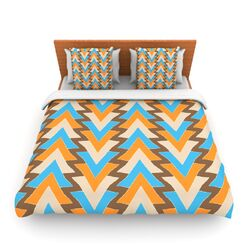 My Triangles in Blue by Julia Grifol Fleece Duvet Cover