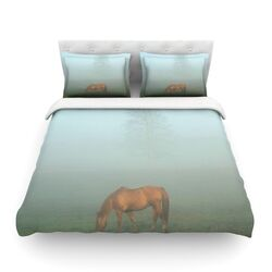Horse in Fog by Angie Turner Light Cotton Duvet Cover